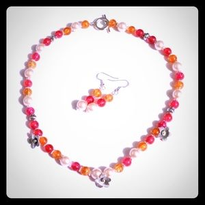 Jewelry - 💜🎀Sunset Colors Flower Necklace & Earrings🎀💜